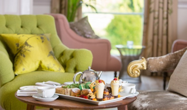 Afternoon tea at New Park Manor hotel, New Forest.