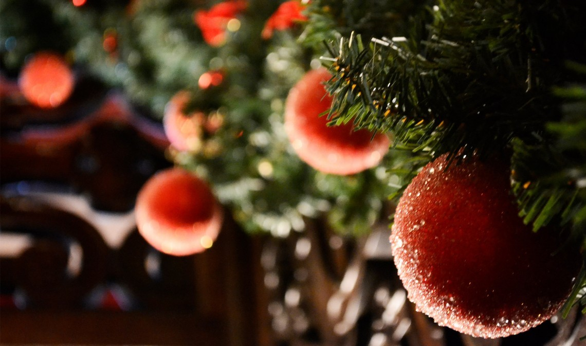 Baubles on a Christmas tree.