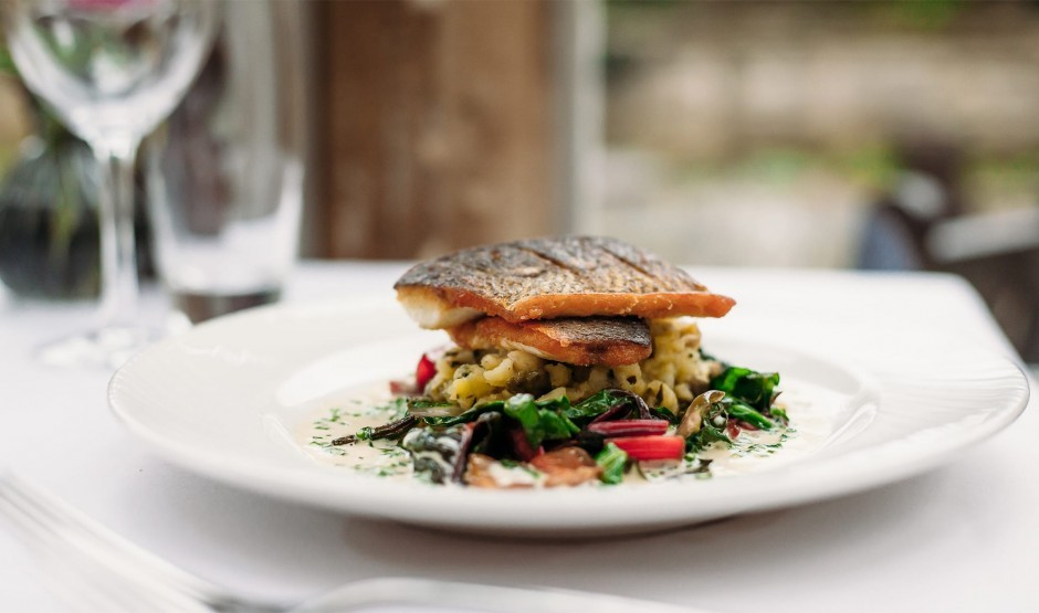 A delicious fresh fish dish at New Park Manor, a luxury family hotel in the New Forest