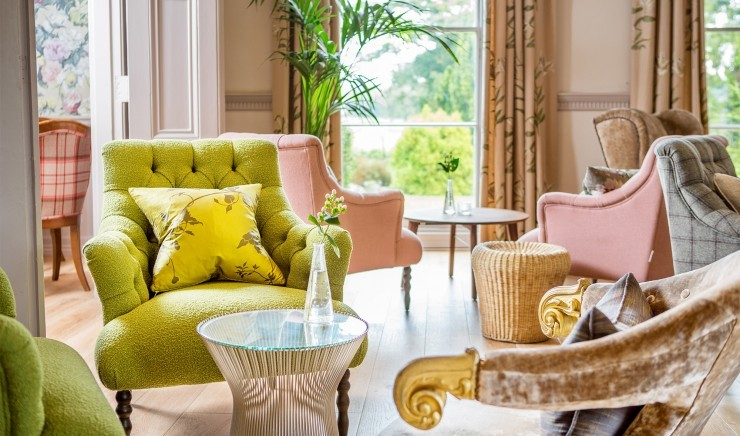 The stately lounge at New Park Manor luxury family hotel in the New Forest