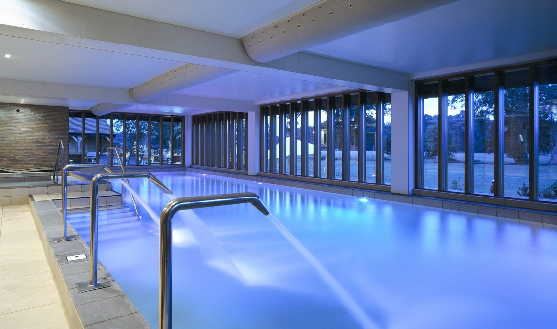 Heated swimming pool at the Hampshire spa at New Park Manor