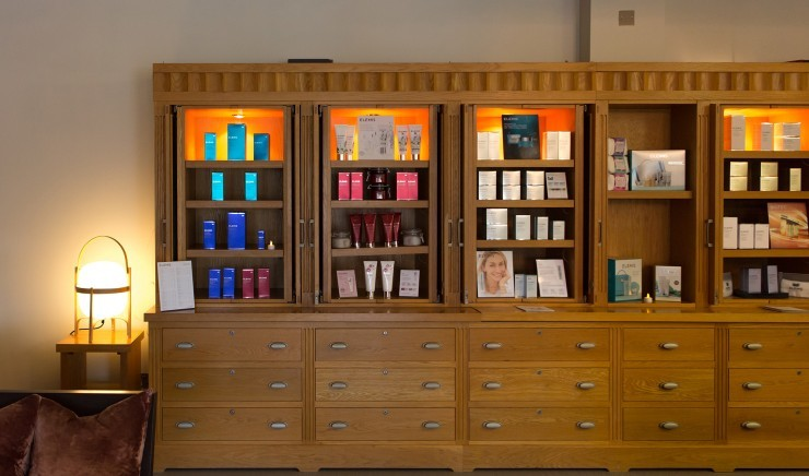 Some of the Elemis and other beauty products available to buy in the spa of luxury family hotel, New Park Manor